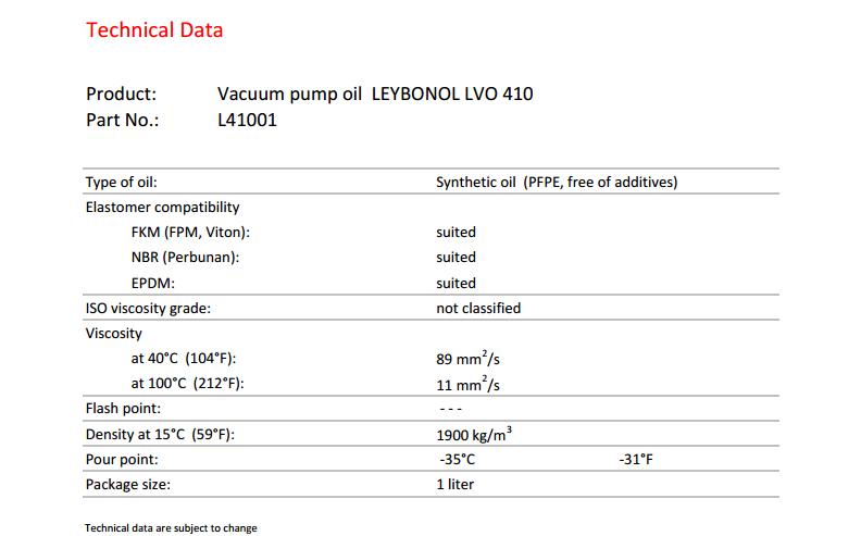 德国莱宝LEYBOLD全氟醚真空泵油LVO410